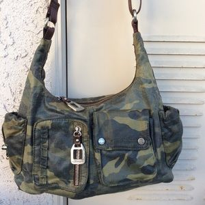 Green Camo Coated Canvas Hobo Bag